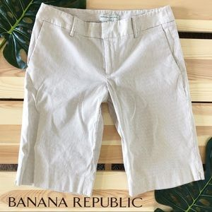 Banana Republic Seersucker Tan Khaki Bermuda Short